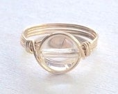 Quartz Wire Wrapped Ring, Clear Quartz Ring, 14k Gold Filled Ring, Stone Ring