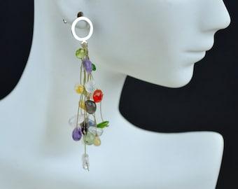 Sterling silver-filled multi-gemstone earrings.(E10008)