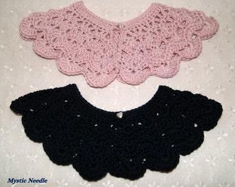 Pastel Pink or  Size 4 - 6 Hand Crochet Peter Pan Collar, Detachable Handmade Collar