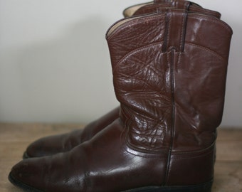 men's brown leather roper boots by justin size 9D