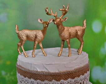 gold deer wedding cake toppers bride groom fall autumn silver white buck doe deer themed wedding woodland nature deer hunting groom's cake