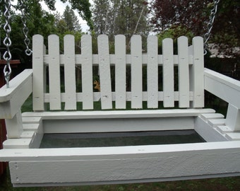 Mother's Day, Rustic, White Porch Swing Bird Feeder, Swing Feeder, Bird Swing Feeder, Porch Swing