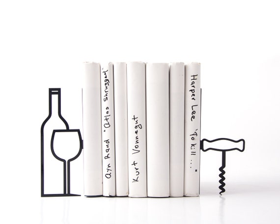 Metal kitchen bookends less whine more wine modern home for Minimalist gifts for housewarming
