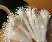 off white lace trim , cotton embroidered gauze mesh lace with polka dots