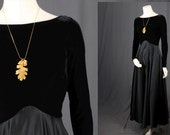 Black maxi dress Velvet dress satin cocktail dress wedding bridesmaid women size S small size 4