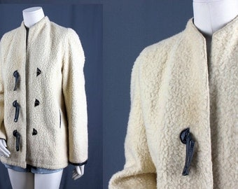 Lambswool jacket winter coat faux fur jacket fur coat blazer sailor jacket leather vintage size S small