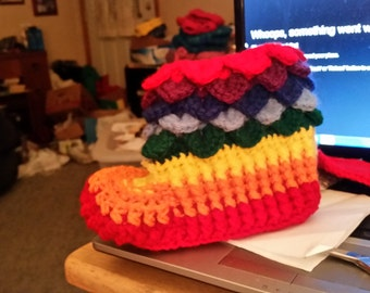 rainbow stripe crocodile stitch slippers