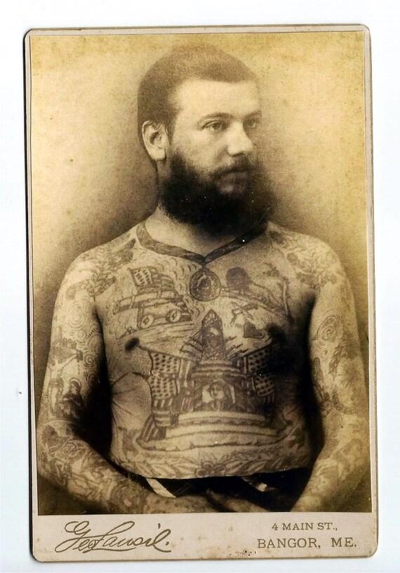 Victorian Man Tattoo Tattooed Man Victorian...