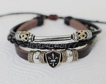 414 Men's brown leather bracelet Shield bracelet Fleur de lis bracelet Charm bracelet Braided bracelet Fashion jewelry For men and women
