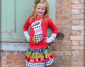 Girl Christmas Outfit Modern Personalized Christmas Stocking Shirt and Skirt Set