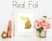 Michigan State Art / Gold Foil Print / Any State Print / Any Country Print / Gold Print / State Love / Housewarming Gift / Gold State Print