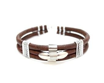Brown Leather & Metal Bracelet Jewelry Handmade in Thailand  (B6294-4C5)
