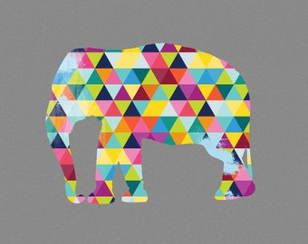 Elephant Art Print Animal Poster Design Bright Geometric Colorful Colourful Yellow Grey Blue Pink Green Modern Wall Home Decor