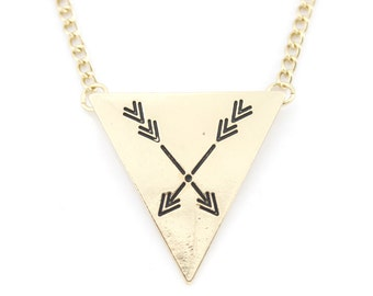 Simple Gold tone Arrow Triangle Pendant Necklace,A11