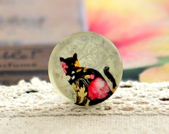 10pcs (10mm\12mm\14mm\15mm) 4pcs (16mm\18m\20mm\25mm) 2pcs (30mm) Handmade Photo Glass Cabs Cabochons--Lovely Cat