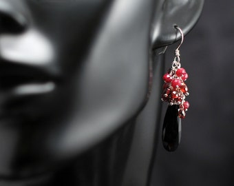 Sterling Silver, Faceted Black Spinel, Faceted Ruby, Faceted Garnet, Red Holiday Earrings