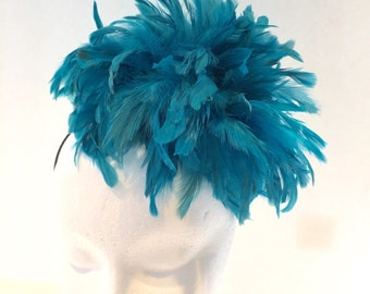 Turquoise Feather Headband - Turquoise  Fascinator-Handmade in USA-Turquoise Headpiece -Steampunk-Kentucky Derby- Wedding-Rio Carnival