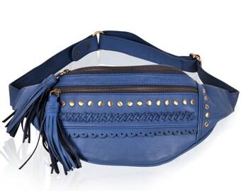 ROADTRIP. blue leather bag / fanny pack festival / fanny pak / belt purse / pouch / leather belt bag. Available in different leather color.