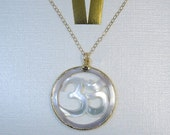 40% off HUGE Sale Mother of Pearl OM with Electroplated 24k Gold Edged Necklace on Gold Fill Chain - SaMpLe SaLE (S38B5-05)
