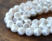 Faceted Dyed Agate Dzi Beads, White, 8mm Round - 15 inch strand - eGR-AG044-8