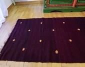 6.10ft X 2.19ft, Burgundy Rag Runner , Vintage Hand Woven Rag Rug, Balkan Traditional Kilim, Pure Organic Wool