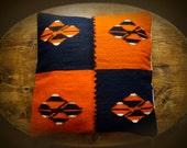 """Handwoven Woolen Kilim Pillow Cower, 21"""" X 21"""" Decorative Pillow, Kilim Pillow Cower ,Orange Kilim"""