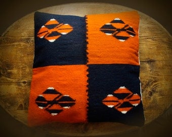 "Set of 4, Handwoven Woolen Kilim Pillow Cower, 21"" X 21"" Decorative Pillow, Kilim Pillow Cower ,Orange/Midnight Blue Kilim"
