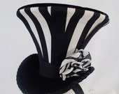 Ring Leader Big Top Tiny Top Hat Flare Black and White Vertical Stripes Goth Gothic berlesque Small Fascinator Hair Accessory Barette Minii