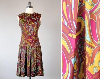 Vintage Mod Dress, 1960s Mod Dress, 1960s Dress, Twiggy Dress, Drop Waist Dress, Mini Skirt Dress, Small