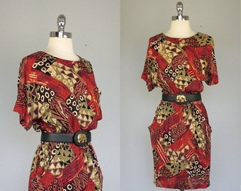 Vintage Dress, Tribal Print Dress, Ethnic Dress, Safari Dress,  Mini Dress, African Print Dress, Medium, Day Dress, Rayon Dress