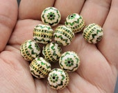 10 Meenakari, enamel work round beads, small, green, white and gold combo, Indian beads, cloissone, 12mm in size