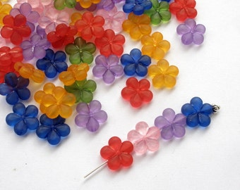 50 Mixed Flower Frosted Acrylic Spacer Beads, 14mm in size, flat, drilled sideways
