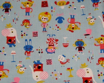 Japanese Fabric, Animals of the Circus Japanese Cotton Fabric, By the yard, Kawaii Fabric