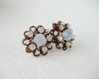 Opal Stud Earrings. Rhinestone Earrings. Vintage Style Earrings with Swarovski Crystal Rhinestones. Opal Jewelry Romantic Rhinestone Jewelry