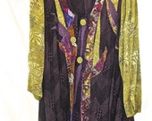 AUBERGINE KIMONO JACKET, Altered Couture, Handmade Art Collage, Patchwork Quilt, Art to Wear, Plus Size Tunic, Bamboo and Silk Fabrics