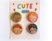 "Cute Boys - 4 Pack Badge/Pinback Button 1"""