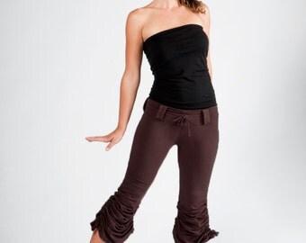 Cinchy Pants-boho women's clothing-green pants-cotton yoga pants-beltloop pants-wide leg yoga-bohemian chic-boho fashion-fashion women-green