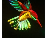 Large Dichroic Stained Glass Hummingbird Bevel Cluster