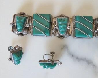 30s - 40s silver bracelet and earrings set