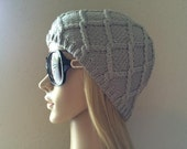 Hand knitted gray hat, diamond cable pattern