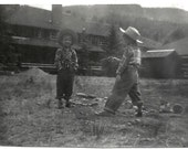Old Photo 2 Boys wearing Plaid Shirts and Jeans Hats Toy Gun 1940s Photograph snapshot vintage