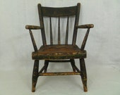 Primitive Antique Childs Chair, 1800's Childs Plank Seat Chair, Stencil Decorated Child's Chair