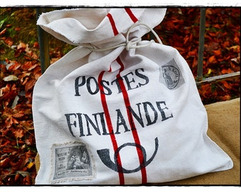 Grainsack, mail bag, Christmas sack, Santa sack, flour sack, antique linen, handwoven