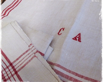 Towel, dish cloth, antique linen, handwoven