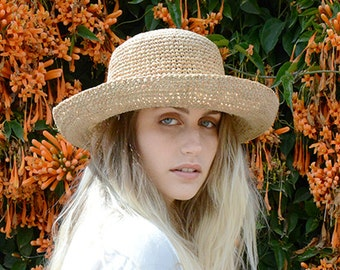 Crochet straw raffia Floppy Hat , Straw hat for women , Straw hat for men , Raffia straw hat , Sun hat , Beach hat , Raffia straw hat