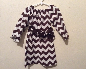 Long sleeve Chevron Peasant dress