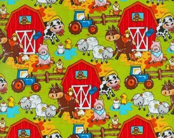 Fat Quarter Animal Farm Barn Cotton Quilting Fabric - Blank Quilting BTR6953