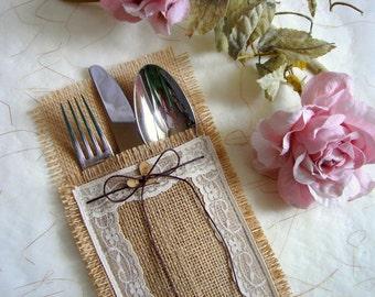 50 Burlap Flatware holders for weddings, Wedding Table Setting, Rustic Flatware Pockets