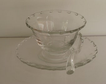 GLASS CONDIMENT SERVER/Fostoria Glass Co./Glass Tableware/Mayonnaise Server/Buffet Server/Vintage Glassware/Serving Dish w Glass Spoon/Bowls