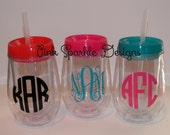 Monogram Stemless Tumblers Personalized